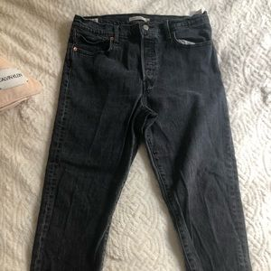 Premium Levi Wedgie Straight Cut : Worn Black/Grey